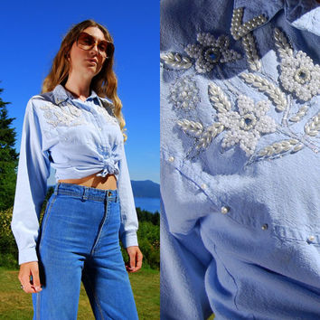 Beaded Western Shirt, Medium Embroidered Sequin Chambray, Rodeo Queen Embellished Top, Long Sleeve Light Blue Cotton Blouse, Dolly Parton