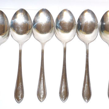 Set of 6 Antique Dessert Spoons, Sandringham Pattern, Edwardian style, Flatware, Tableware, EPNS, Silver Plate