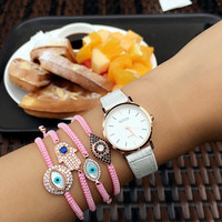 Woman new arrival gold turkey evil eye Bracelets For Women Pulseira Brand hamsa evil eye Zircon Bracelet Braiding