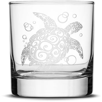 Whiskey Glass with Tribal Sea Turtle, Deep Etched