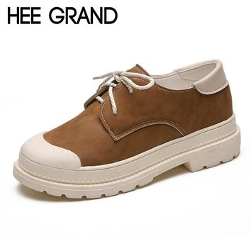 HEE GRAND Round Toe Platform Casual Flats Shoes Lace Up Woman Pitchwork Creepers Women Flats Shoes 3 Colors Size 35-39 XWZ4558