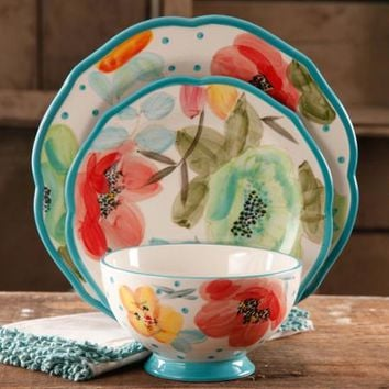 The Pioneer Woman Vintage Bloom 12-Piece Decorated Dinnerware Set - Walmart.com