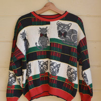 Vintage Womens Cat Sweater Slouchy Sweater 1980s Christmas Cat Sweater