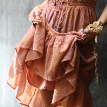 Vintage Bohemian Gypsy Style Dress Hand Dyed Romantic Dusty Rose Thin Cotton Gauze Crochet Trim Tiered Ruffle Hem