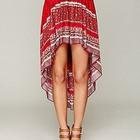 Free People  Border Print Highlow Slip Skirt at Free People Clothing Boutique