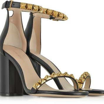 Stuart Weitzman Black Leather Rosemarie Sandals