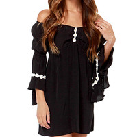 Black Ruffled Sleeve Off-shoulder Dress