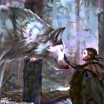 Arya Stark Dire Wolf Nymeria Game of Thrones Art Print Poster - 11x17 perfect for home decoration or wall decoration or as gift idea
