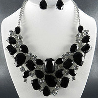 FASHION SILVER PLATED METAL RESIN BEADS AND STONE CHUNKY PENDANT NECKLACE SET