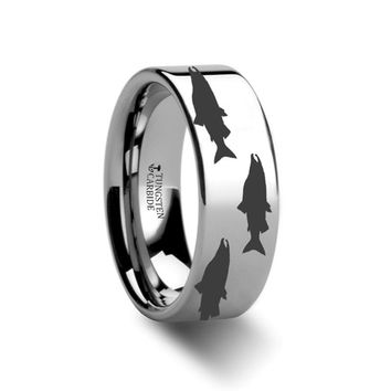 Sea Pattern - Salmon Fish - Sea Print Ring - Laser Engraved - Flat Tungsten Ring - 4mm - 6mm - 8mm - 10mm - 12mm
