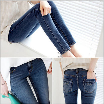 Free shipping Jeans Woman 2016 New Jeans Women Korean Version of Slim stretch Thin Feet Pencil Pants Wornen Jeans