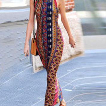 Multicolor Sleeveless Vintage Print Maxi Dress