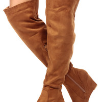 Camel Faux Suede Over the Knee Wedge Boots