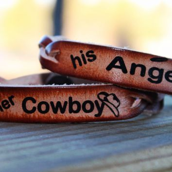 His Angel and Her Cowboy Braided Leather  Bracelet SET of TWO