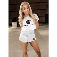 Champion 2018 summer new fashion print sports sexy two-piece suit F0781-1 White