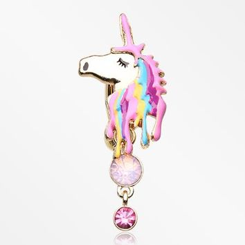 Golden Magical Unicorn Sparkle Reverse Belly Button Ring