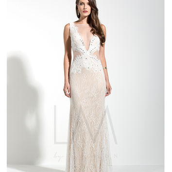 LM by Mignon HY1279 White & Nude Sexy Lace See Through Gown 2015 Prom Dresses