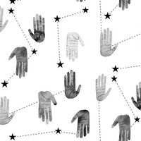 Black and White Magical Hands - Larger Scale wallpaper - taraput - Spoonflower