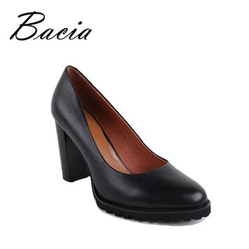 Bacia Black Heels Women Round Head Square Heel Pumps High Heels  Genuine Leather Fashion Casual Shoe 2016 Free Shipping VB005