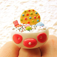 Kawaii Food Ring Cookie Ice Cream Panda Candy by SouZouCreations