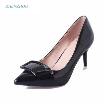 Free shipping 2016 designer shoes with elegant commuter pointed high heel summer hot style bowknot single women's patent