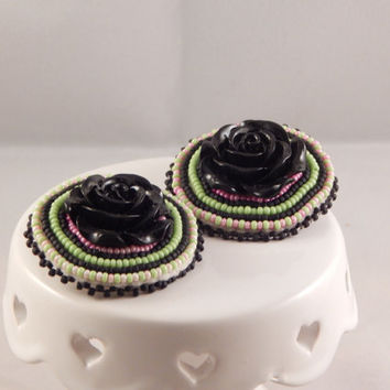 Black Rose Beaded Earrings, pow wow beadwork, resin - fancy jingle traditional ladies dancer - Native American Metis made - statement piece