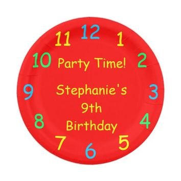 Party Time Paper Plates, 9th Birthday, Red Paper Plate