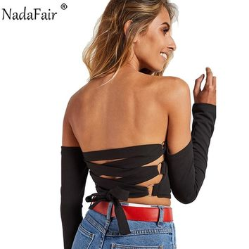Strapless Crop Top Backless Laced Adjustable Blouse