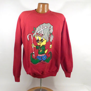 Ugly Christmas Sweater Vintage Sweatshirt Looney Tunes Xmas Tacky Holiday Tweety