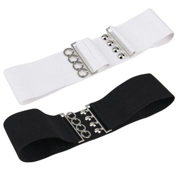LMF9GW Women's Vintage Metal Elastic Stretch Buckle Wide Waist Belt Waistband