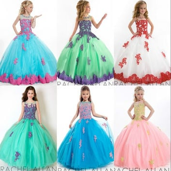 2016 Little Girls Pageant Dress White/Peach/Blue/Purple Lace Appliqued Floor Length Tulle Flower Girls Dresses For Weddings