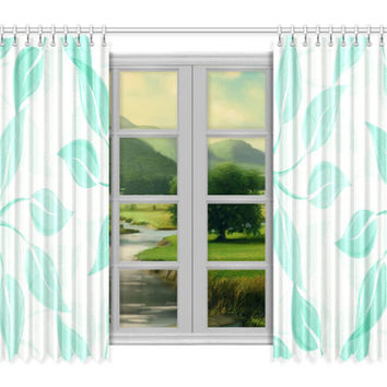 "Window curtains - 2 pieces, 104"" wide, Variable Length, Home, Decor, Bedroom, Kitchen, Style, Teal, Green, White, Designer, Abstract, Modern"