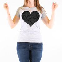 Crumpled Black Heart - Grey Tee Shirt - T-Shirt - Anti Valentines Day - T Shirt - Available in Men's, Women's and Youth Sizes - 300