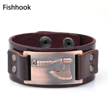 Fishhook Pulseira Masculina Antique Copper Axe Slavic Strap Seal Punk Viking Cuff Leather Men's Bracelets Hidden-safety Snaps