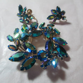 Sherman Matching Rhinestone Set Vintage Designer Signed Peacock Mirror Finish AB  Pin & Matching Earrings Clip-On Mid Century Jewelry