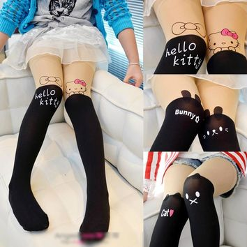 Girls Tights Cute Cartoon Designs Hello Kitty Velvet Stockings Pantyhose for Girls Cartoon Patchwork Dancing Kids Tights