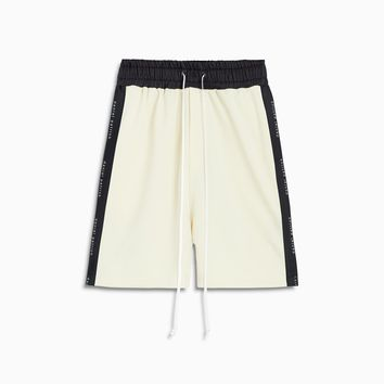 roaming gym short / ivory + black