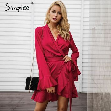 Simplee Elegant sashes v neck satin dress robe femme Irregularity ruffle sleeve autumn dress party Vintage winter dress 2017