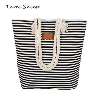 Stripe Black Handbag Summer Beach Bag Canvas Tote Bags Canvas Woman Shopping Bag Women Cheap Hand Bags Shoulder Sac a Main