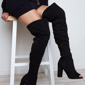Devious Thigh High Boots - Black