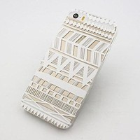 iPhone 5s case, JAHOLAN Henna Series Aztec Tribe Stripe Transparent Hard Plastic Case Cover for iphone 5 5S