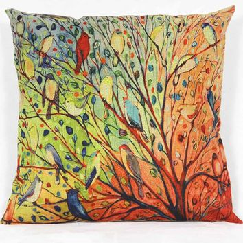 Tree Flower Floral Cotton Sofa Pillowcase Cushion Cover ONLY (insert NOT included)