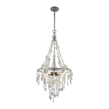 15938/5 Alexandra 5 Light Chandelier In Weathered Zinc With Capiz Shells And Clear Crystal