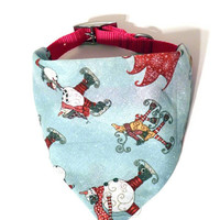 Blue Primitive Christmas Winter Holiday Monogrammed/Personalized Slip On Dog Puppy Over Collar Bandana Neckerchief Pet Fashion Accessory