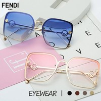 FENDI stylish square sunglasses frameless hollow mirror leg ocean piece sunglasses for ladies