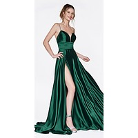 Long A-Line Gown Emerald With Deep Sweetheart Neckline And Leg Slit