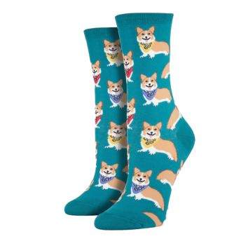 Emerald Corgi Socks - Women's