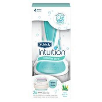 Schick Intuition Sensitive Care With Natural Aloe Women's Razor - 1 Razor Handle Plus 2 Razor Refills