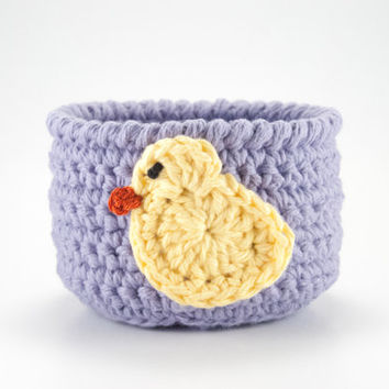 Easter basket, Easter decorations, Spring decor, crochet basket, crochet bowl, Spring chick, rubber ducky, Mothers Day gift, yarn bowl