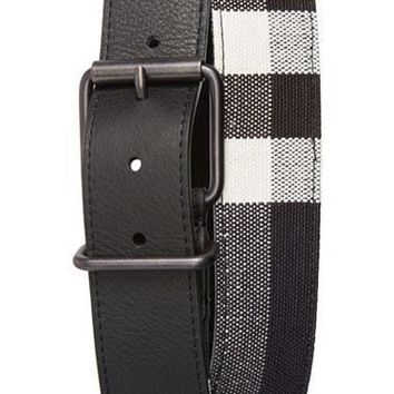 Men's Burberry Leather & Canvas Check Belt Tagre™